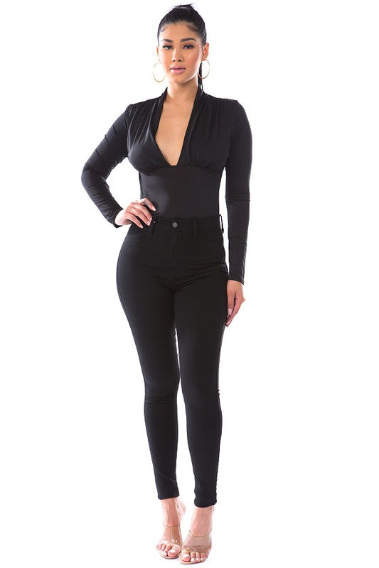 DAY G - Solid Plunging Bodysuit - Black