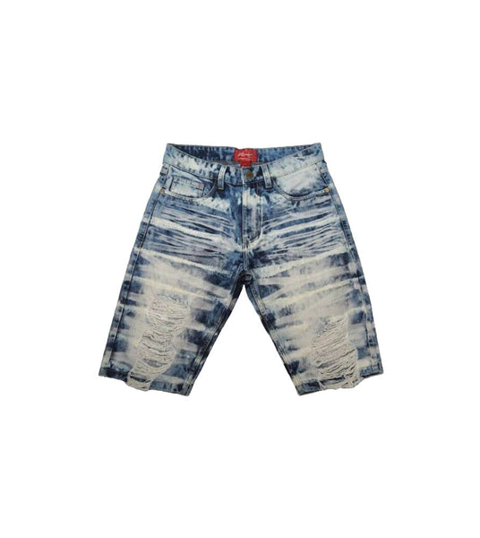 Spring Indigo Heavy Washed Ripped Denim Shorts - Sixteen Bars