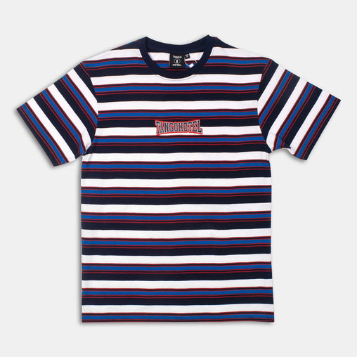 Tango Hotel - Retro Striped Tee - Blue/White