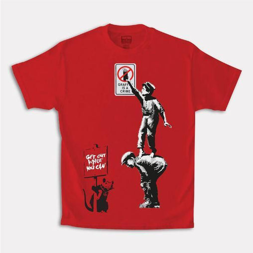 Tango Hotel - Brandalised Banksy's Graffiti Crime x THC Tee - Red