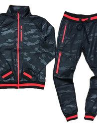 TrillNation - Black with Red Stripe Camouflage Tracksuit