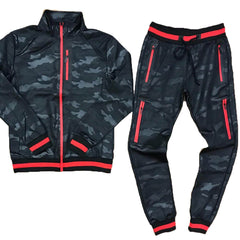 TrillNation - Black with Red Stripe Camouflage Tracksuit - Sixteen Bars