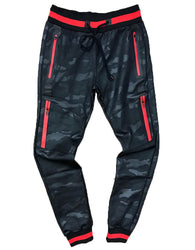 TrillNation - Black with Red Stripe Camouflage Track pants
