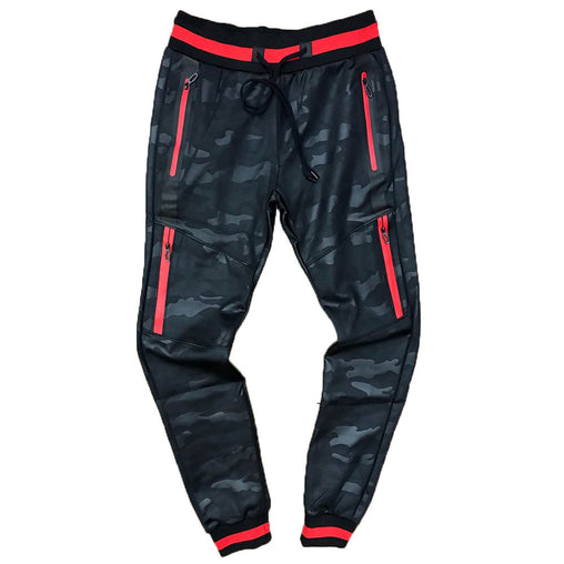 TrillNation - Black with Red Stripe Camouflage Track pants - Sixteen Bars