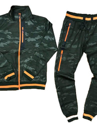 TrillNation - Green with Orange Stripe Camouflage Tracksuit