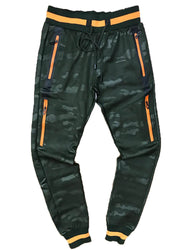 TrillNation - Green with Orange Stripe Camouflage Track Pants