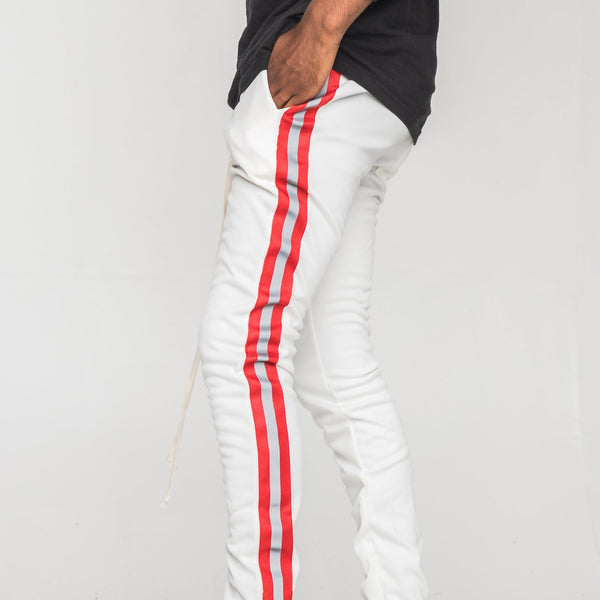 EPTM - White/Red Reflective Stripe Track Pants - Sixteen Bars