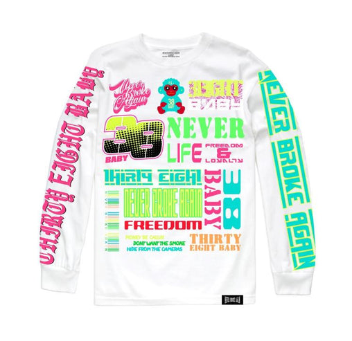 Never Broke Again - White Long Sleeve Scattered T-Shirt - Sixteen Bars