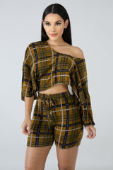 Nicely Plaid LS Biker Set - Sixteen Bars