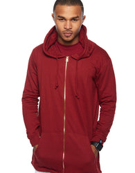 RS1NE -  Burgundy Fishtail Elongated Jacket Hoodie