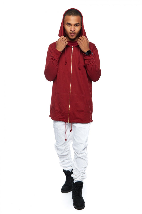 RS1NE -  Burgundy Fishtail Elongated Jacket Hoodie - Sixteen Bars