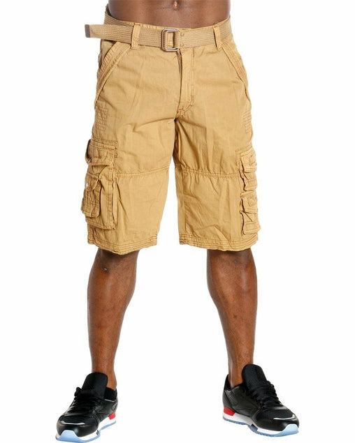 Mens Cargo Shorts - Khaki - Sixteen Bars