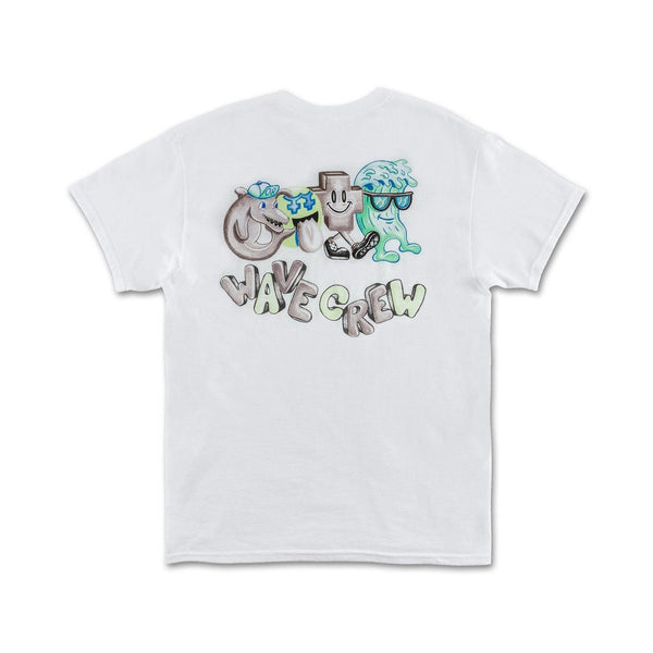 Pink Dolphin - White Wave Crew Tee - Sixteen Bars