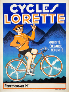 Cycles Lorette - Vintage French bicycle poster - 1920