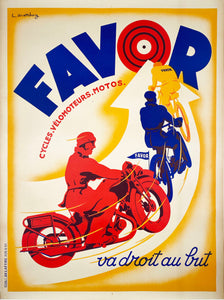 Favor Cycles Velomoteurs Motos - Vintage French poster by Mathey 1938
