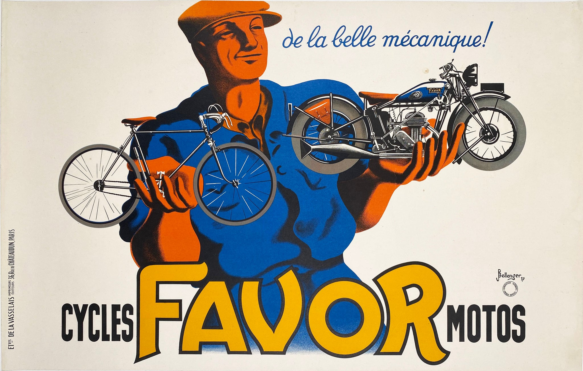 FAVOR - Vintage French cycles poster 1937