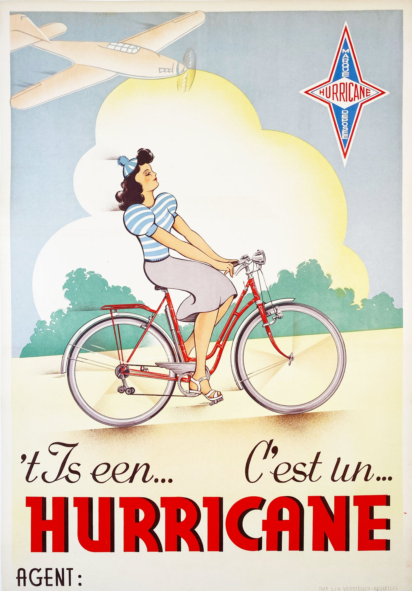 Hurricane Bicycles - Vintage Belgian Poster c. 1950