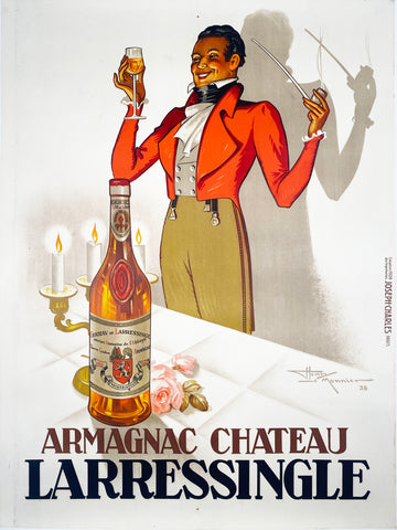 Armagnac Chateau Larressingle - Vintage French Liqueur poster by Le Monnier - 1938