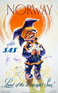 Norway SAS - Vintage Travel Poster 1958