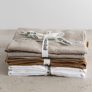 Pure Linen Napkins 4pcs pack - 5 color options