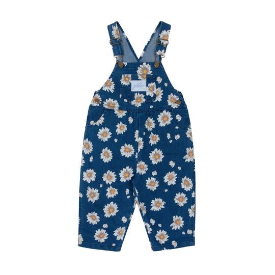 Ace Denim Overalls Vintage Wash Daisies Navy