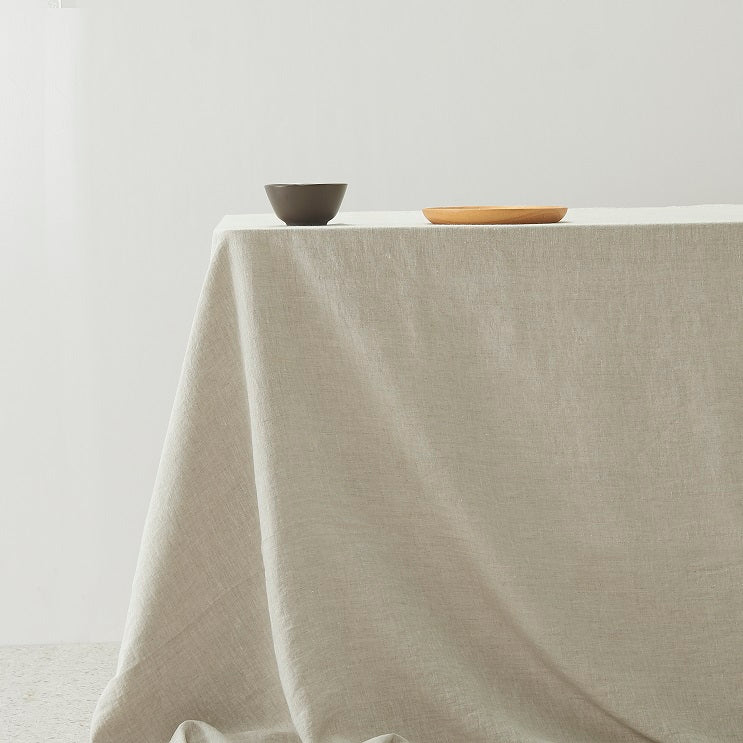 100% Linen washed Table Cloth - Natural