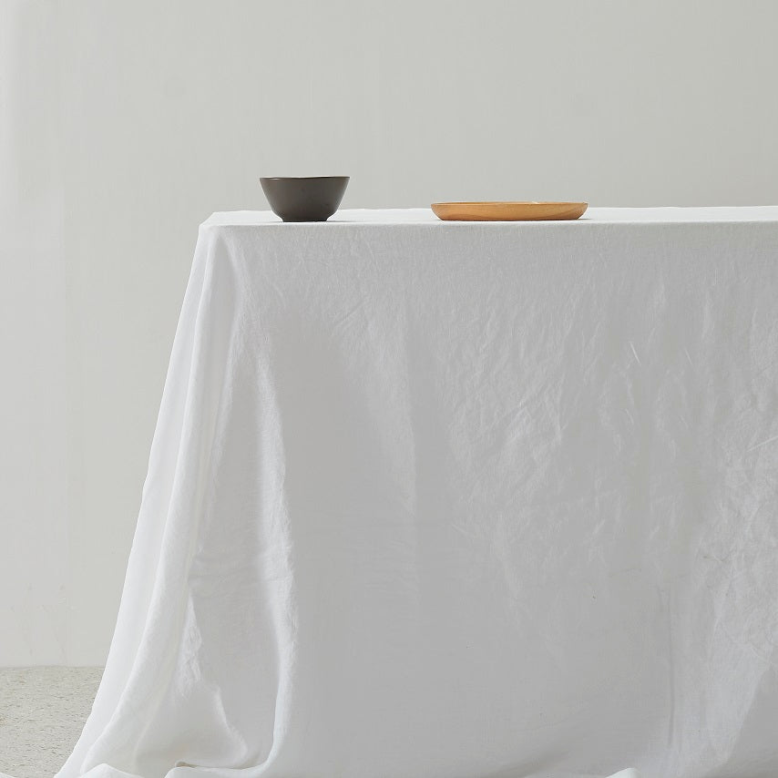100% Linen Table Cloth - White