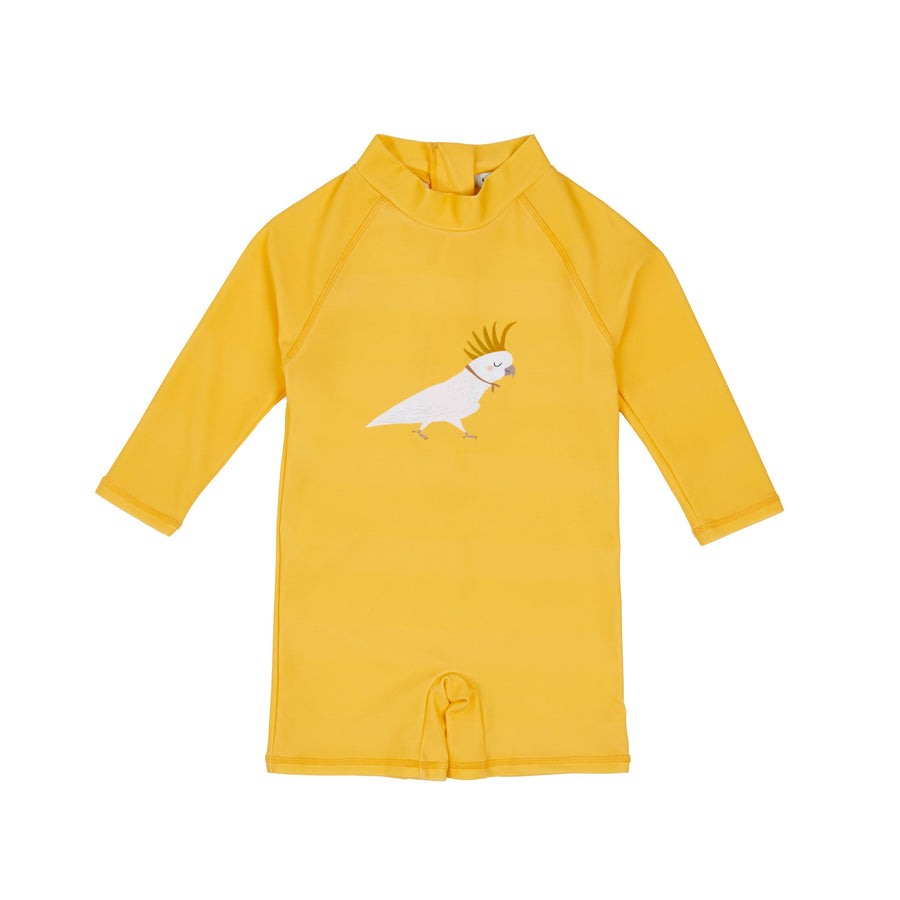 Barb the Cockatoo Short Leg Baby Swimsuit Gold