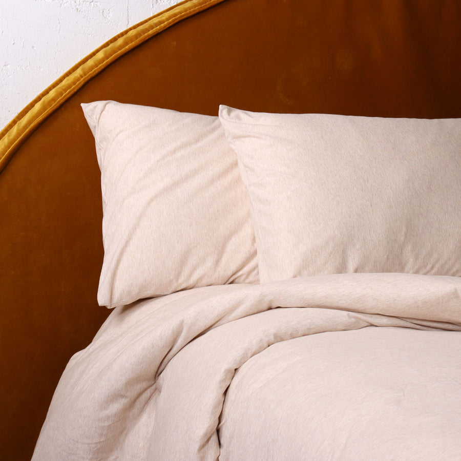 Cotton Jersey  Duvet Cover Set -  Latte