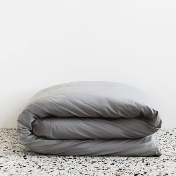 450TC Cotton Percale Duvet Cover - Fog - Silver