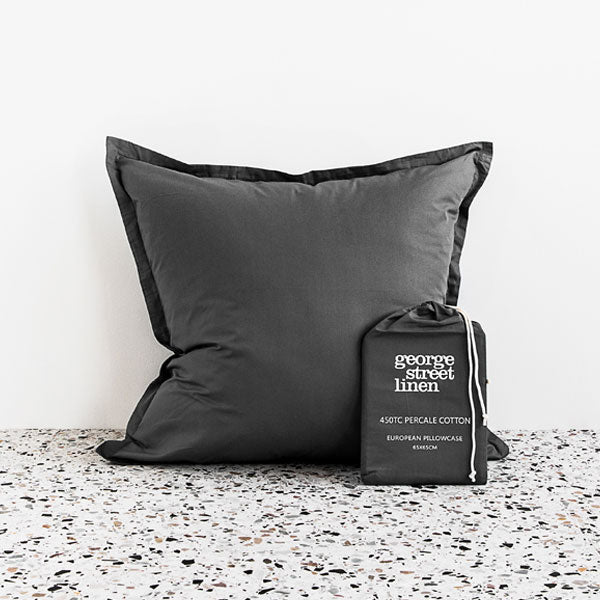 450TC Cotton Percale European Pillowcase - Charcoal