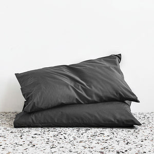 450TC Cotton Percale Pillowcase pair - Charcoal