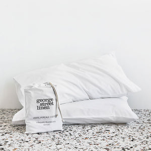 450TC Cotton Percale Pillowcase pair - White