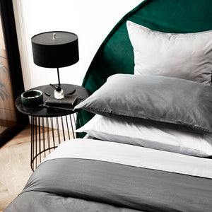450TC Cotton Percale Duvet Cover - Charcoal