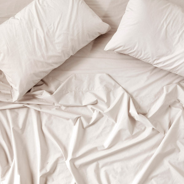 450TC Cotton Percale Fitted Sheet - Linen