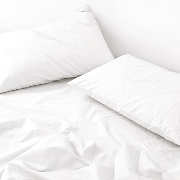 450TC Cotton Percale Fitted Sheet - White