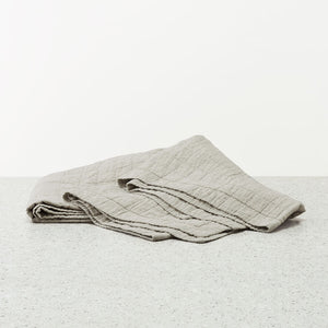 Belgian Linen Quilted washed coverlet - Natural