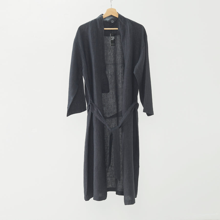 Pure Linen Bathrobe - Onyx