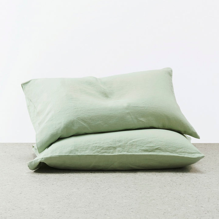 Belgian Linen washed Pillowcases - Sage