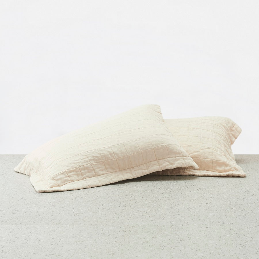 100% Linen washed Pillowcases - Pink Sand