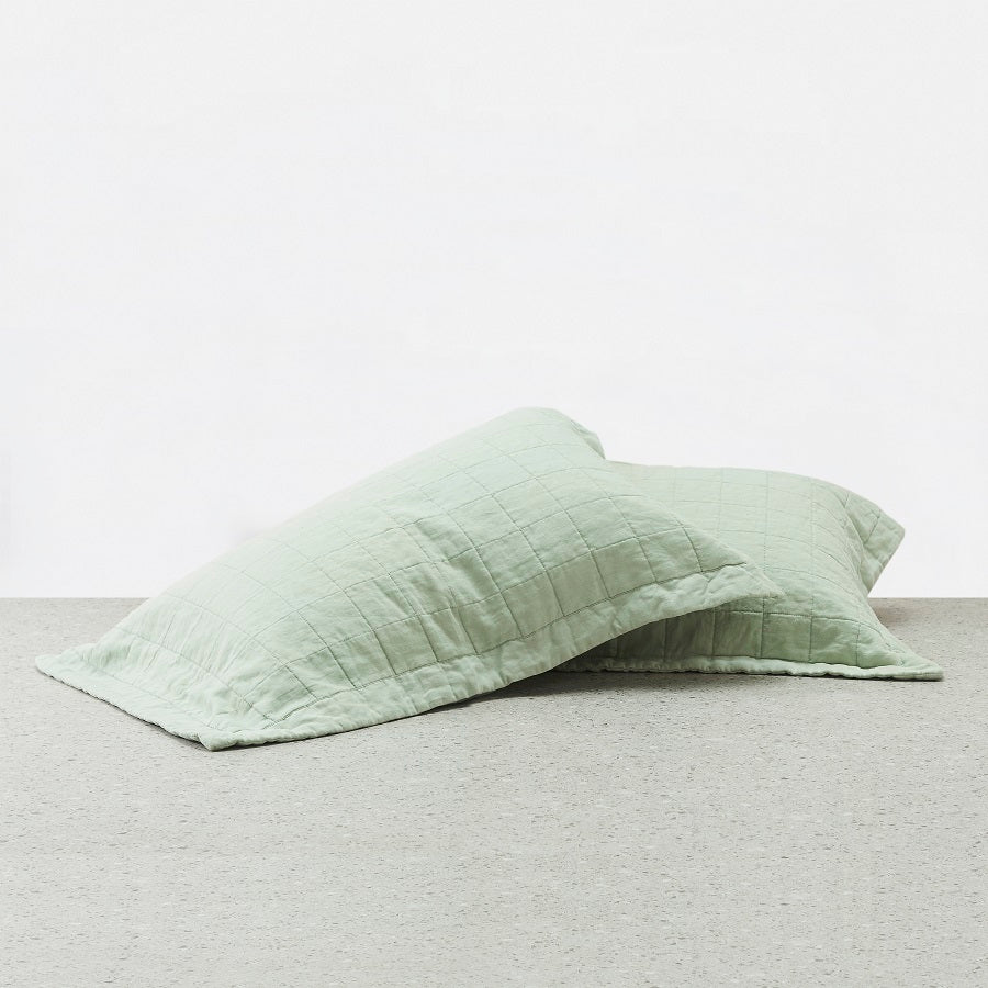 100% Linen washed Pillowcases - Sage
