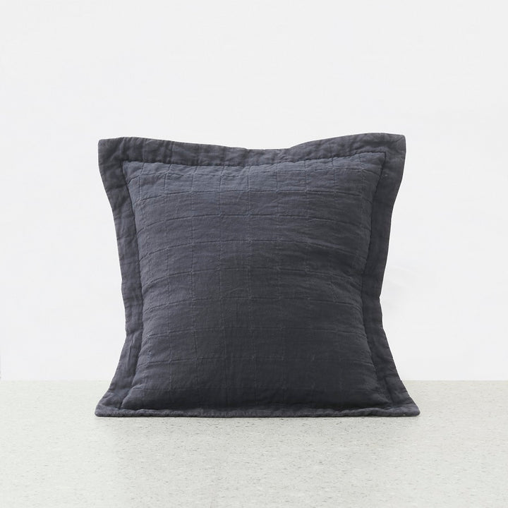 Belgian Linen washed Quilted Euro pillowcase - Graphite