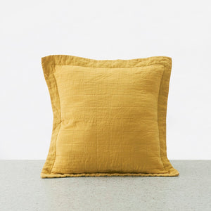 Belgian Linen washed Quilted Euro Pillowcase - Honey