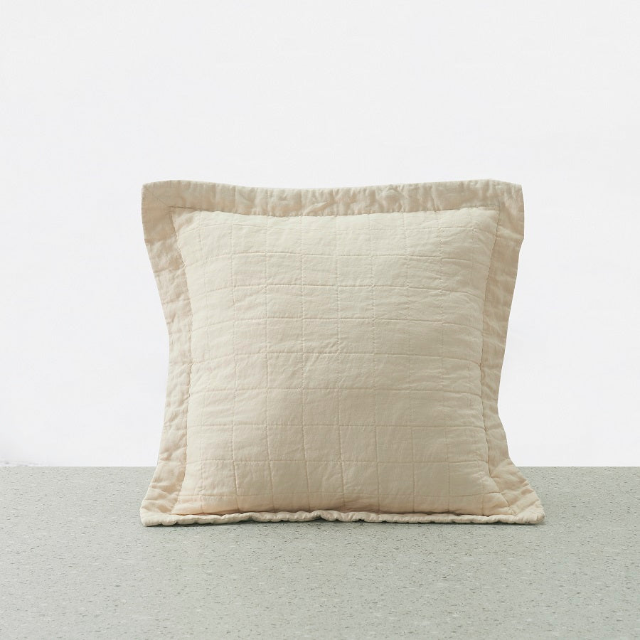 Belgian Linen washed Quilted Euro Pillowcase - Pink Sand