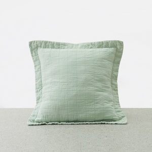 Belgian Linen washed Quilted Euro Pillowcase - Sage