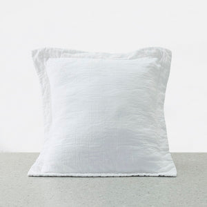 100% Linen washed European Pillowcases - White