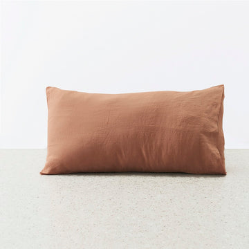 Belgian Linen washed Standard Pillowcase pair - Adobe