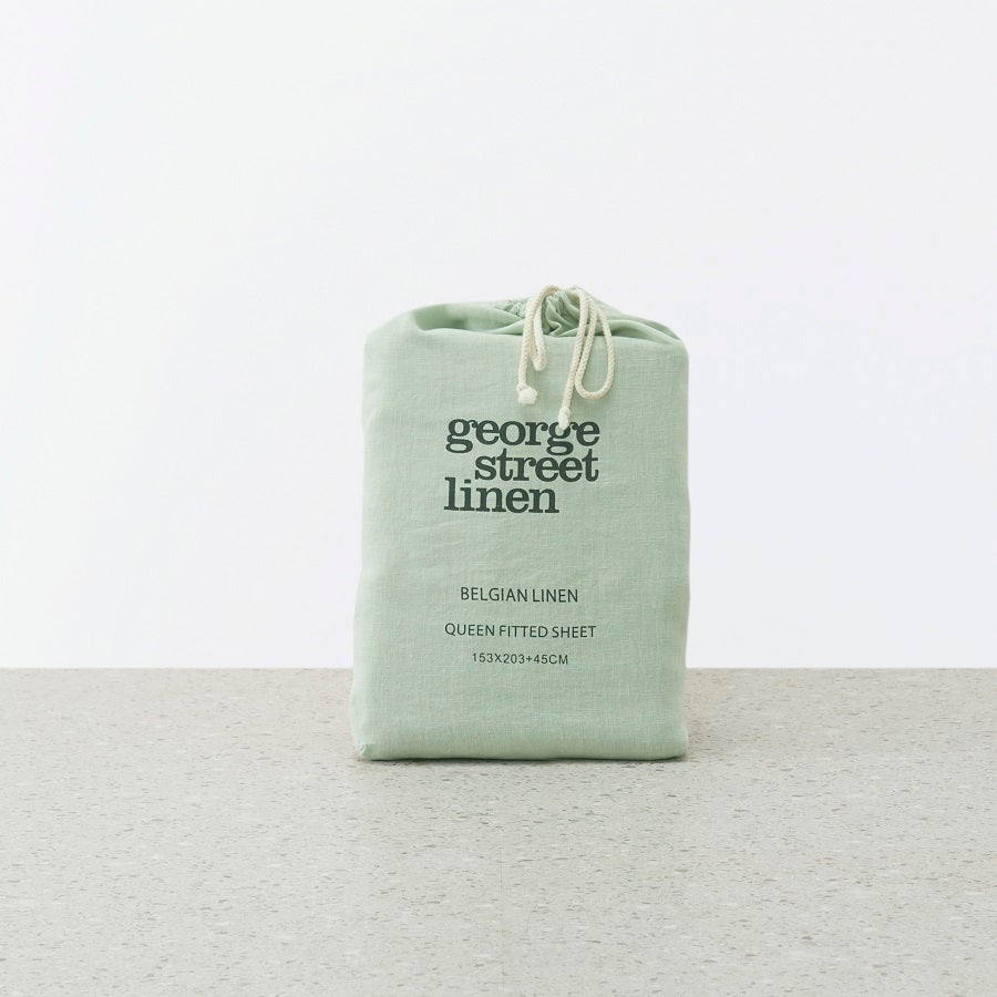 Belgian Linen washed Fitted sheet - Sage