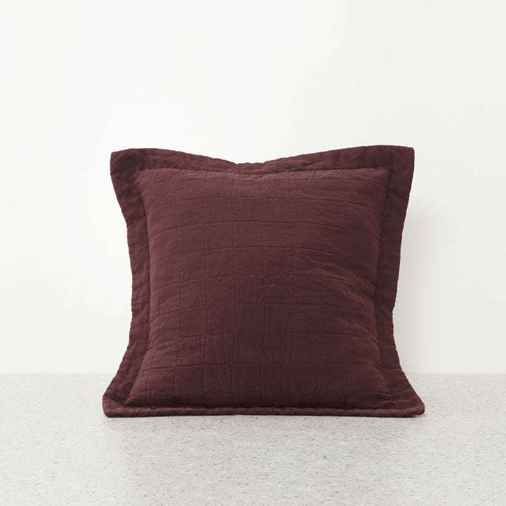 Belgian Linen washed Quilted Euro Pillowcases - Sherry