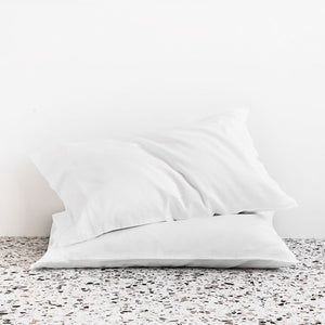 Extra Soft Washed Sateen Pillowcase pair - White